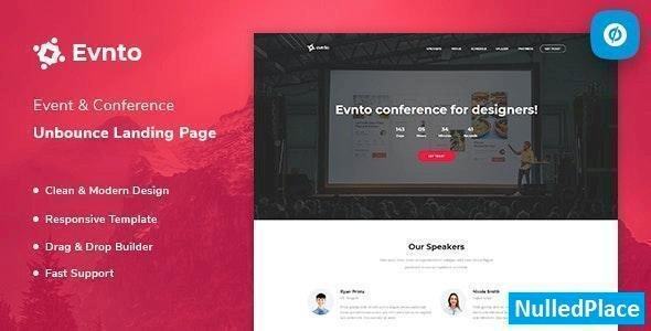 Evnto – Event & Conference Unbounce Landing Page Template