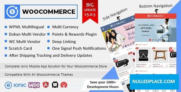 Ionic5 Woocommerce v3.0.6 – Ionic5/Angular8 Universal Full Mobile App for iOS & Android / WordPress Plugins