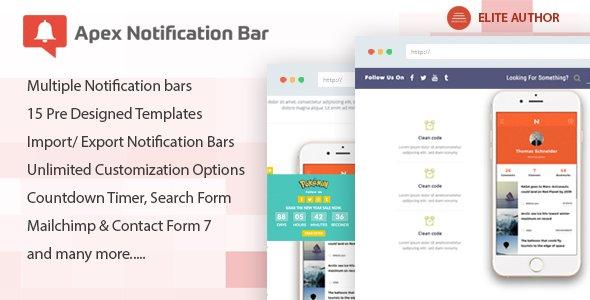 Apex Notification Bar – Responsive Notification Bar Plugin for WordPress v2.1.5